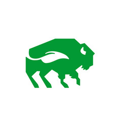 bison buffalo leaf tail natural green simple vector image