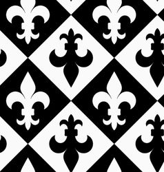 Black and white alternating Fleur-de-lis up and vector