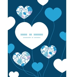 Blue and pink kimono blossoms heart symbol vector