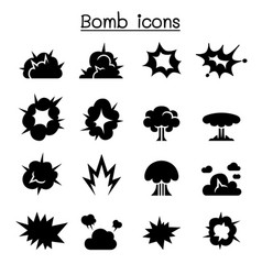bomb explosion icon set graphic design vector image