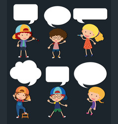 boys and girls with blank speech bubbles vector image