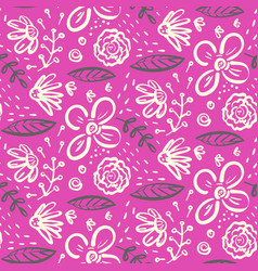 bright pink doodle floral pattern vector image
