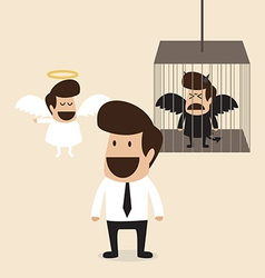 Businessman decide to belive angel mind vector