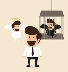 Businessman decide to belive angel mind vector