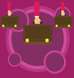 Businessmen hands carrying brown briefcase with vector