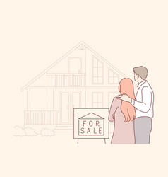 buy sale house real estate family concept vector image
