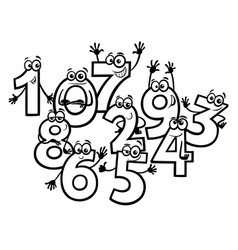 cartoon basic numbers group coloring book vector image