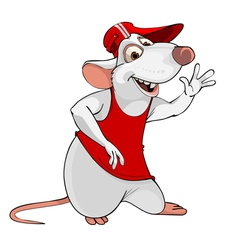 Cartoon fun white rat in a T shirt and cap vector