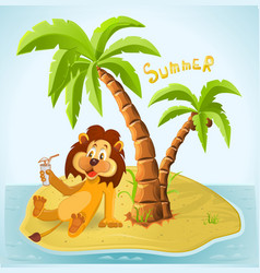Cartoon lion resting on the island in the summer vector image
