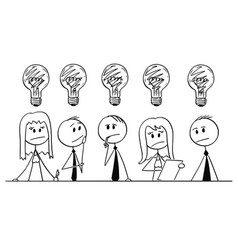 Cartoon of group of business people thinking vector