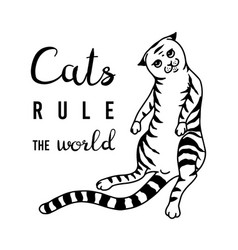 cats rule world meow power domestic kitty vector image