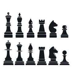 chess game icon set simple style vector image