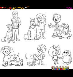 children and dog characters color book vector image