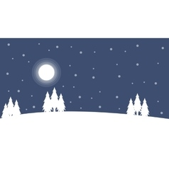 Christmas landscape at night winter vector image