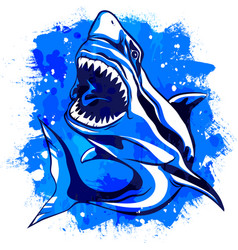 Color watercolor aggressive shark with open mouth vector