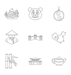 Country of china icon set outline style vector