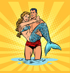 Couple in love mermaid and handsome male swimmer vector
