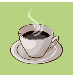 Cup Of Hot Black Coffee Concept vector