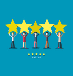 customer quality rating symbol people with stars vector image