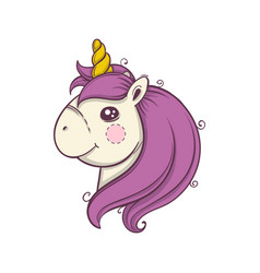Cute cartoon unicorn head emoji vector