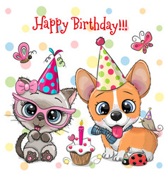 Cute kitten and puppy owls with balloon and vector
