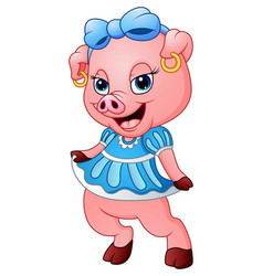 Cute pig cartoon posing vector