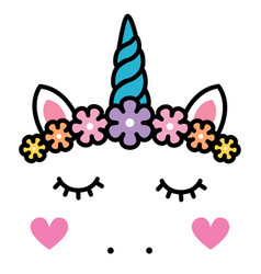cute unicorn face with pastel rainbow flowers vector image