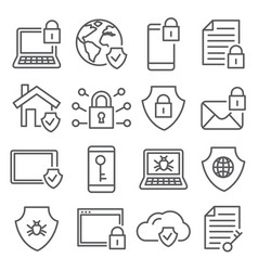 cyber security line icons on white background vector image
