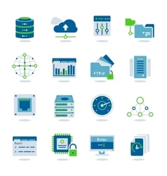 Datacenter Flat Icon Set vector