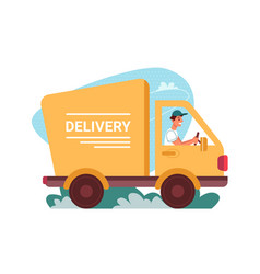 delivery courier truck car deliver flat cartoon vector image