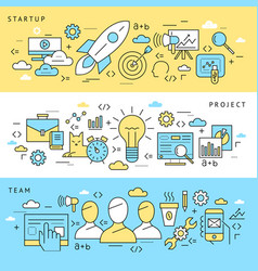 digital blue startup business icons vector image