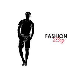Fashionable guy fashion silhouette a guy vector