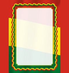 Frame and border of ribbon with bolivia flag vector