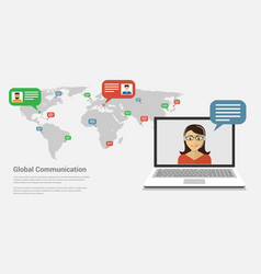 global communication banner vector image