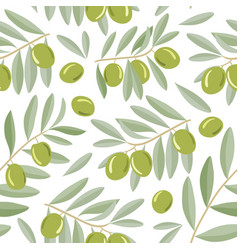 green olive branches seamless pattern vector image