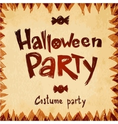 Halloween Party message design paper background vector image