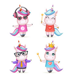 happy girl unicorn isolated 3d cute cartoon vector image