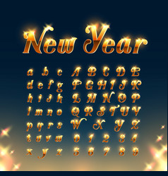 happy new year with golden letters and numbers vector image