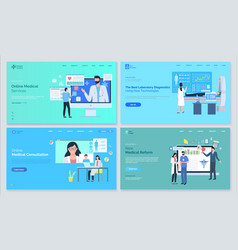 healthcare medical website set clinic vector image
