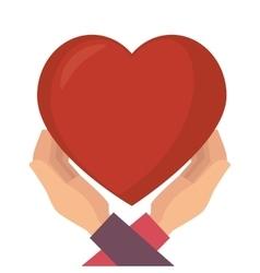 heart love hands vector image