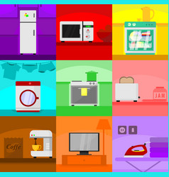 Home scenery kitchen appliances set vector
