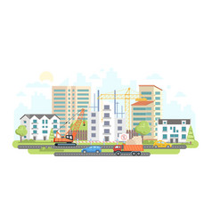 Housing complex under construction - colorful flat vector