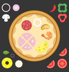ingredient for design your own pizza vector image