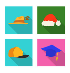 Isolated object headgear and cap logo set of vector