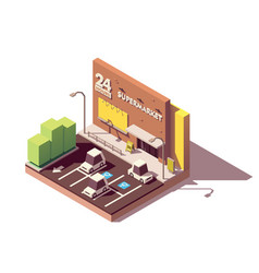 Isometric supermarket car parking lot vector