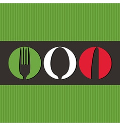 Italian menu design with cutlery symbols vector image