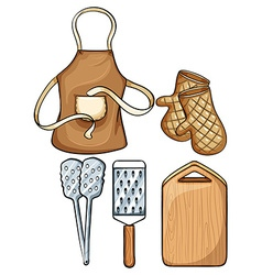 Kitchenware with apron and mittens vector image
