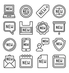 labels new icons set on white background line vector image