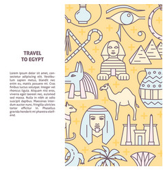 Line style background with egypt symbols and place vector