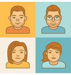 Linear avatar icons vector